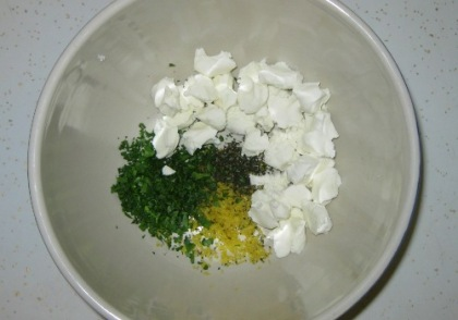 herbs and goat cheese