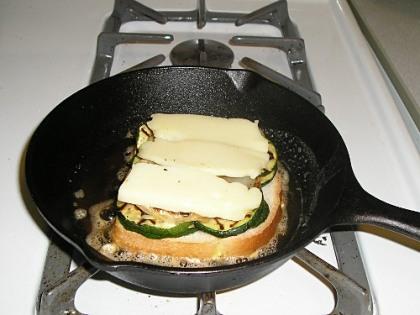 frying the sandwich